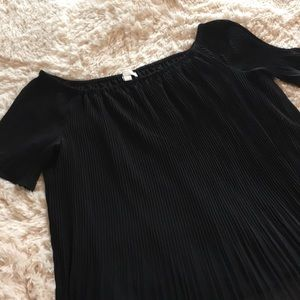 Michael Kors Black Pleated Off Shoulder Top